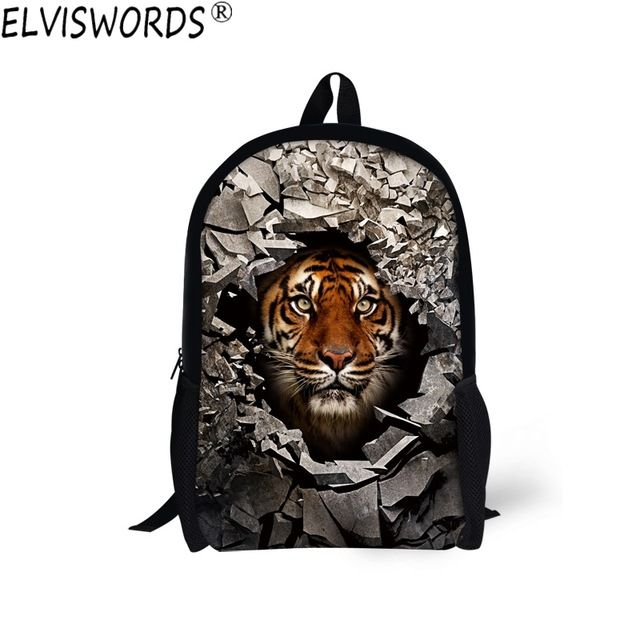 ELVISWORDS 2017 New School Bags for Teenager Boys Tiger Pattern Printed Bookbags Boys Backpack Schoolbag Students Shoulder Bags