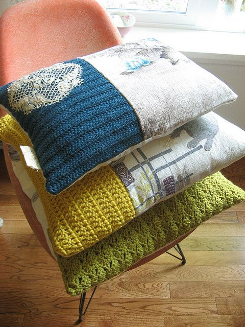 Oh the textures! DIY up-cycle cushions using old knits, doilies and calico.