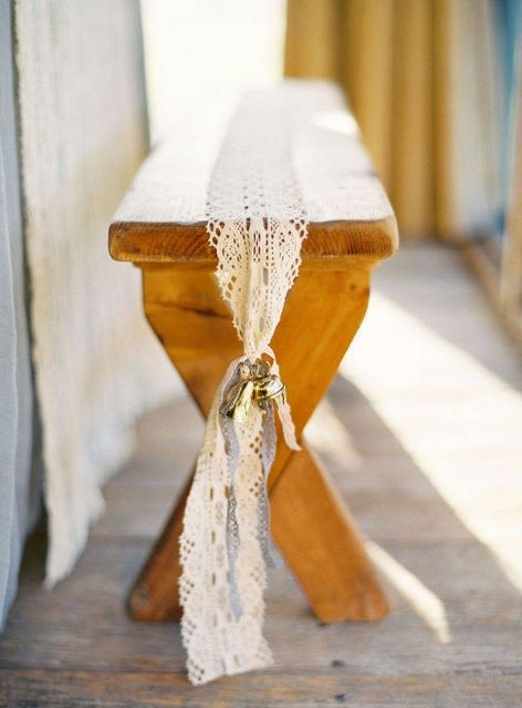 Benches at ceremony can be recycled for lounge areas around the reception- and lace can be re-used as runners if necessary