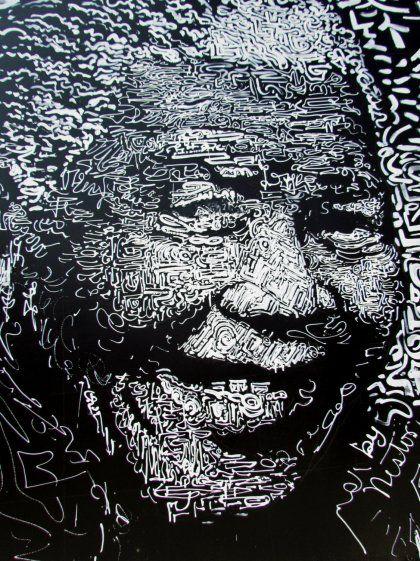 Nelson Mandela, Black and White Street Art, Collage ...