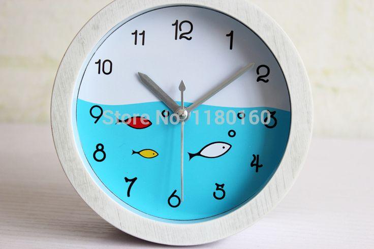 Ретро моды творческие Средиземноморский рыбный идиллической белый деревянный стол будильник, сделать старый ретро деревянные настольные часы будильник часы