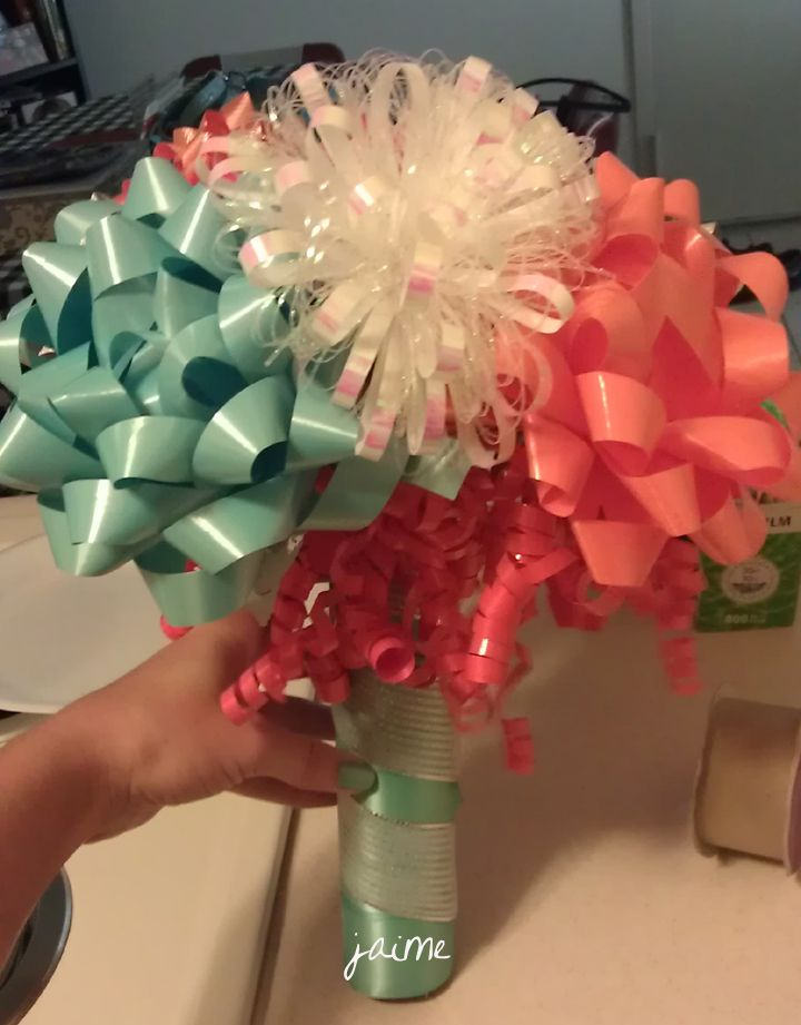 rehearsal dinner bow bouquet, used from bridal shower gifts