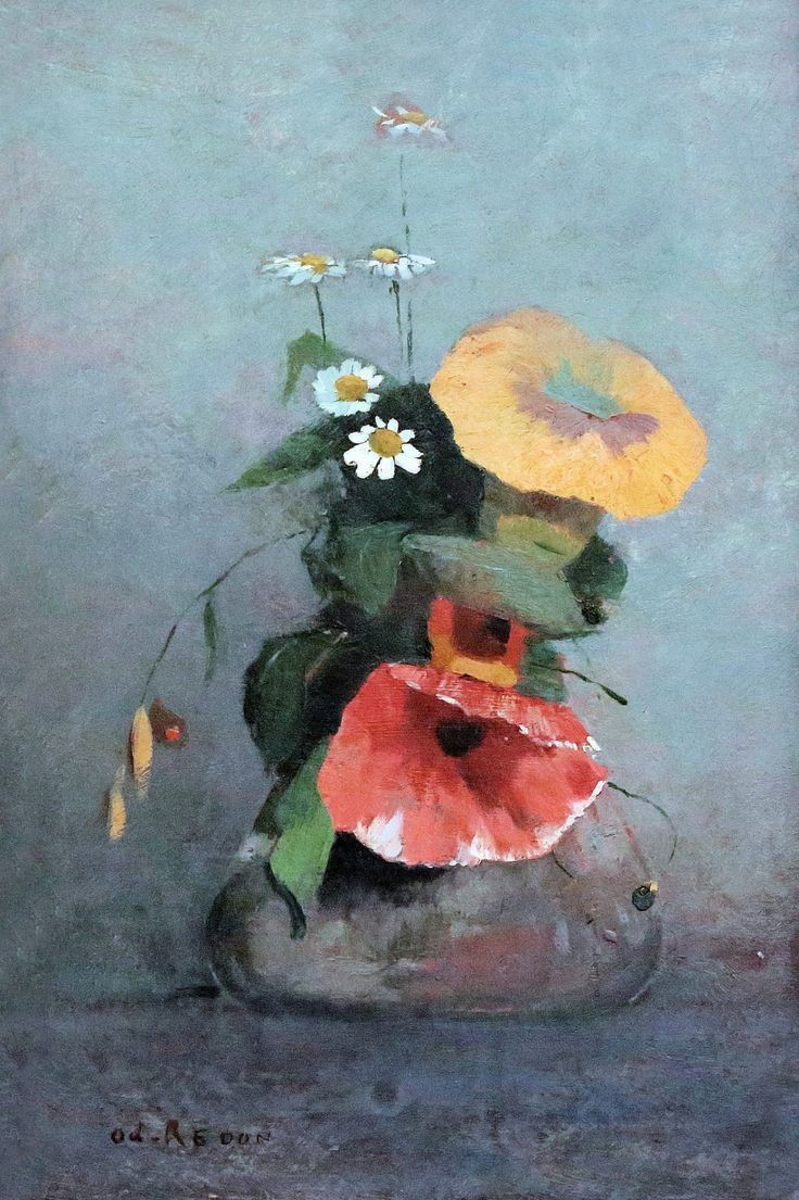 Odilon Redon - Vase with Poppy, Camomile and Bindweed