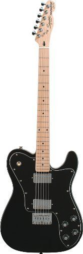 Squier by Fender Vintage Modified Tele Custom, Black by Squier by Fender. $249.99. The Tele® Custom is an affordable hybrid of two popular Telecaster® designs. Fusing a '72 Tele Custom with a Tele Deluxe, this guitar has two high-output humbuckers, a three-way pickup selector switch and independent volume and tone controls. The Squier Tele Custom also features a solid agathis body and bolt-on maple neck with maple fingerboard.