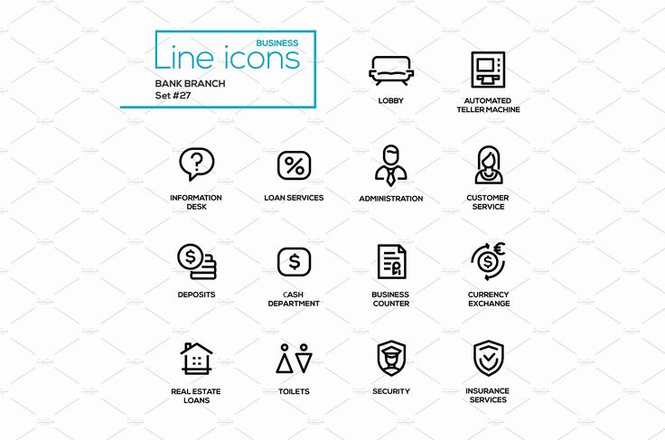 Bank Branch - Line Pictograms Set by Decorwith.me Shop on @creativemarket