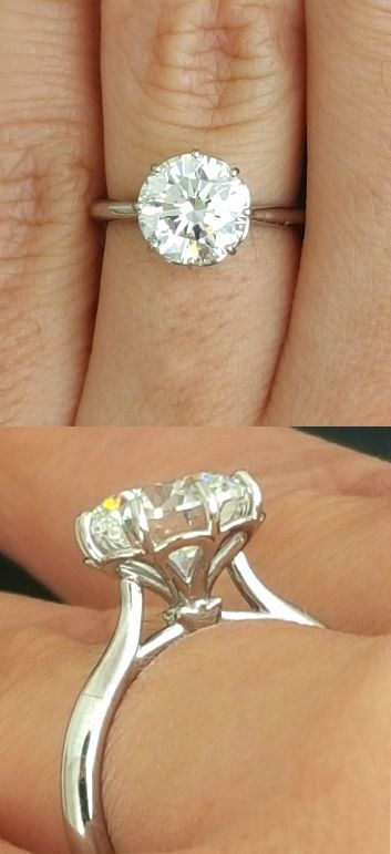 Diamond Solitaire, 2ct Round Diamond, Round Diamond Solitaire, Flower Petal Ring, Petal Solitaire, 8 Prong Solitaire, White Gold Solitaire, Classic Solitaire