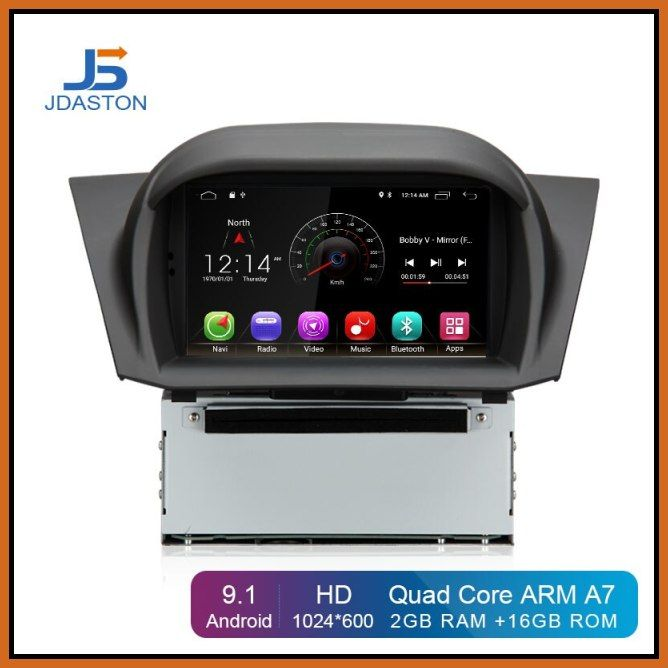 New Jdaston Android 9 1 Car Dvd Player For Ford Fiesta 2013 2014 2015 2016 Wifi Gps Navigation 1 Din Car Radio S In 2020 Car Dvd Players Gps Navigation Cheap Car Audio