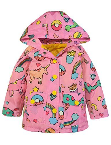 a9c56f522 YNIQ Girls  Lightweight Unicorn Print Raincoats Rain Jacket