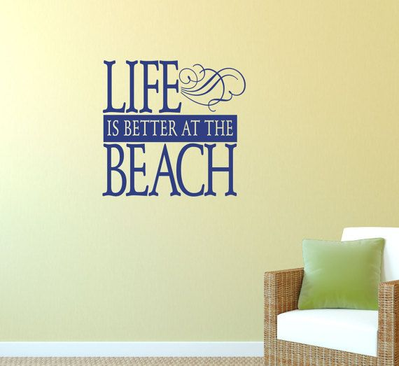 Life is better at the beach decal ocean wall decal wall quotes beach house wall decor vinyl lettering coastal charm island life