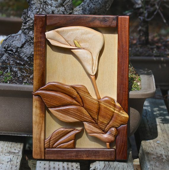 Hardwood Intarsia Callas Lily Wall Art by SierraWoodSculptures, $87.00