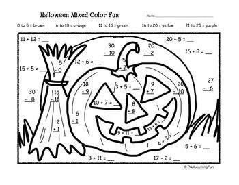 Halloween Addition & Subtraction Color Fun Halloween
