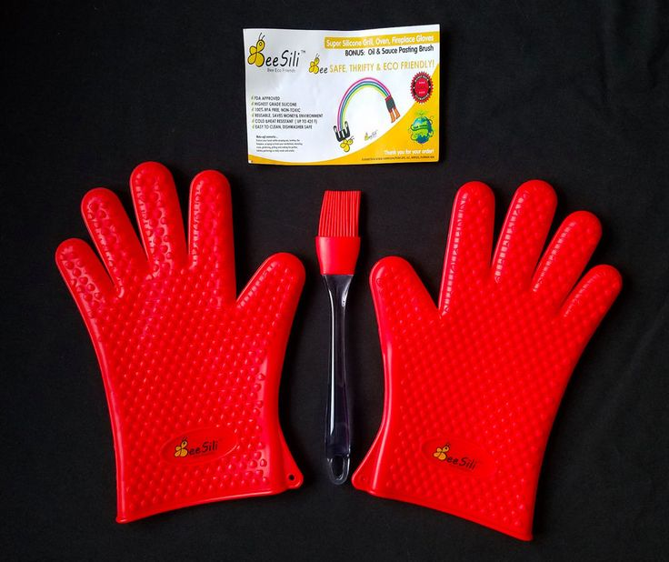 Bee Sili Silicone Potholder 2 Gloves With Brush Red Oven Mitts BBQ Grill Kitchen #BeeSili
