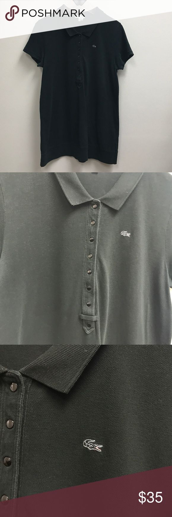 Lacoste Devanlay Black Polo Collared Shirt Great used condition. Buttons snap. Lacoste Tops Blouses