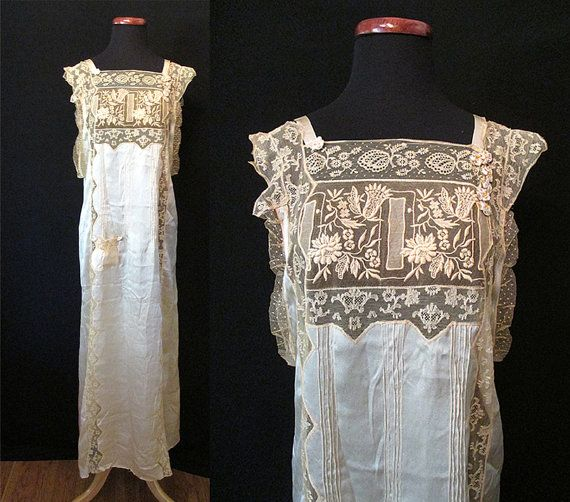 Spectacular 1920's Silk and Lace Nightgown Collectors Piece Great Gatsby Roaring 20's Downton Abbey Hollywood Glamour Boudoir Size-Medium