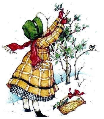 Holly Hobbie, gathering the Christmas holly - Holly Hobbie is one of my very favorite artists!!