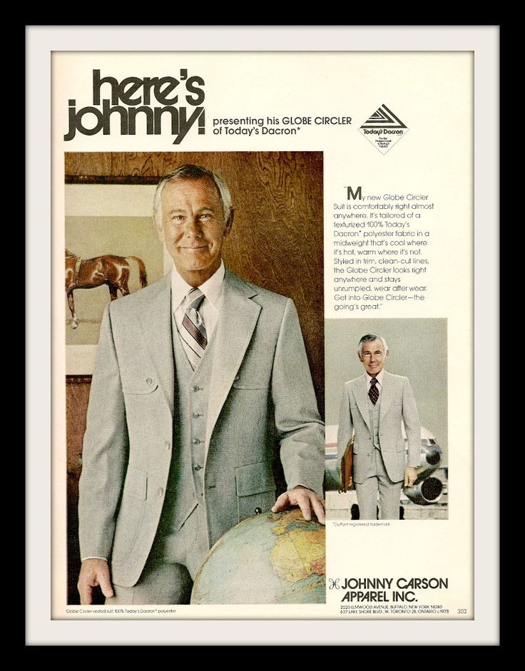 """1978 Johnny Carson Suit Fashion Ad """"Global"""""""