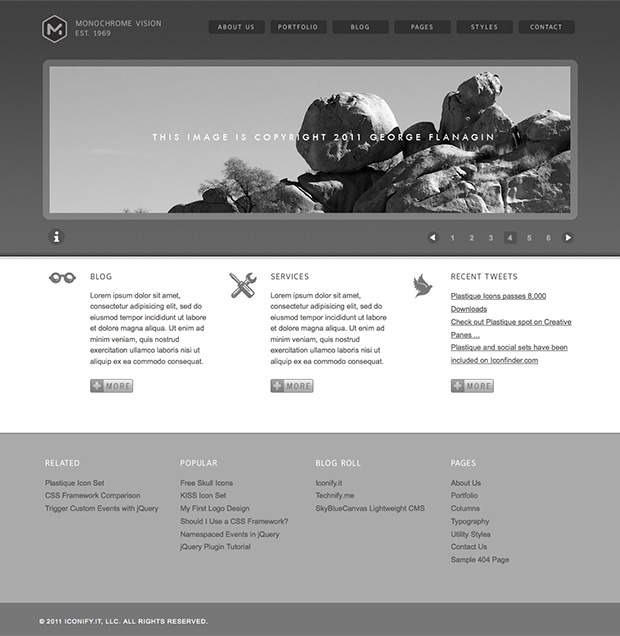 Monochrome HTML Template Preview