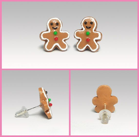 Gingerbread Man Earrings  Studs Polymer Clay  Cute by PixieHearts, $22.50