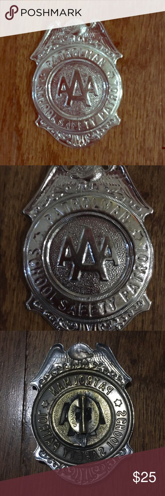 Vintage AAA Safety Patrol badge school This badge was made by Grammes in Allentown Pennsylvania. It's in good shape but is missing the pin. A large safety pin works just fine. Please take a look at all of my items for more cool pins and other great finds. Thanks. Vintage Accessories