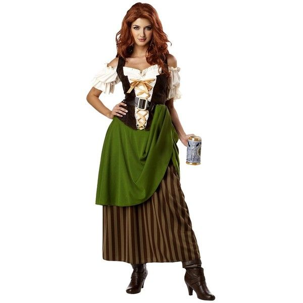 Women's Tavern Maiden Costume : Target ❤ liked on Polyvore featuring costumes, beer wench costume, womens saloon girl costume, beer girl, lady halloween costumes and saloon girl