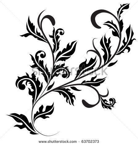 Retro floral design curl. Raster version. Vector version is in my gallery.