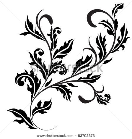 Retro floral design curl. Raster version. Vector version is in my gallery.