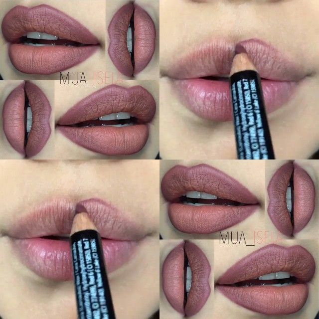 "@nyxcosmetics ""Mahogany"" & ""Soft Brown"" lip liners. Put the darker liner outside, the lighter liner inside, and blend!"