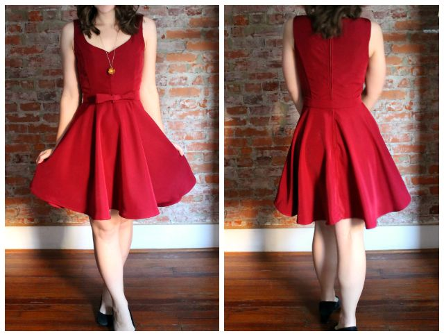 7 Days of Holiday Party Dresses: Andrea's classy red swingy party dress
