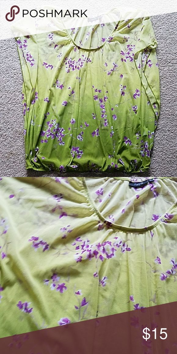 ?New Listing!? Sheer batwing blouse! Ombre green and floral top, very light and flowy. Elastic waist. Apt. 9 Tops Blouses