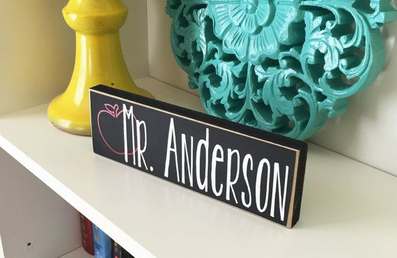 Let your child's teacher know that she is the apple of his eye! This Personalized Teacher Block makes a great addition to any classroom. Shop now! http://craftswithasideofyou.etsy.com