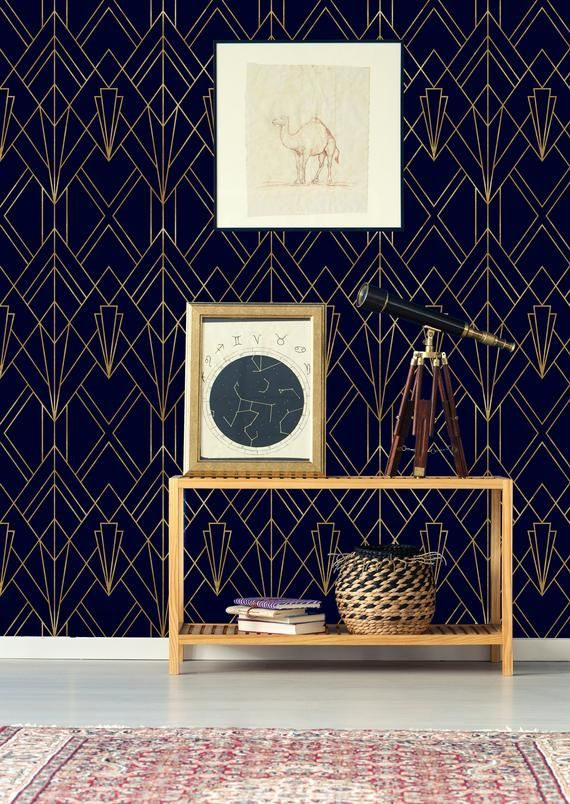 Fond Decran Amovible Or Et Bleu Marine Et Murale Murale Stick Etsy Geometric Removable Wallpaper Blue And Gold Wallpaper Navy Wallpaper