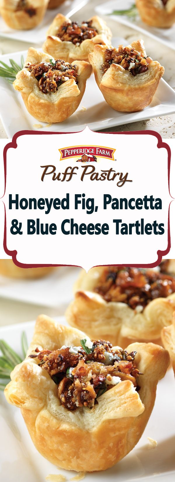Pepperidge Farm Puff Pastry Honeyed Fig, Pancetta & Blue Cheese Tartlets Recipe. Sweet honeyed figs, salty bacon and savory blue cheese combine to make a delectable filling for mini puff pastry tarts.  These appetizers satisfy all of your cravings.