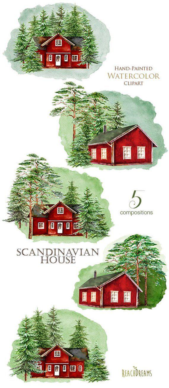 Scandinavian House Watercolor Sweden Cabin Swedish Wooden Etsy In 2020 Scandinavian Home Norway House Sweden House