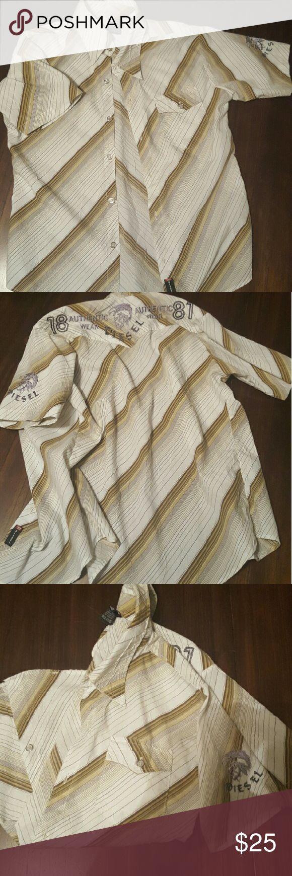 Diesel men's button-down Short sleeve striped men's button-down diesel shirt with embroidery in good condition. Diesel Shirts Casual Button Down Shirts