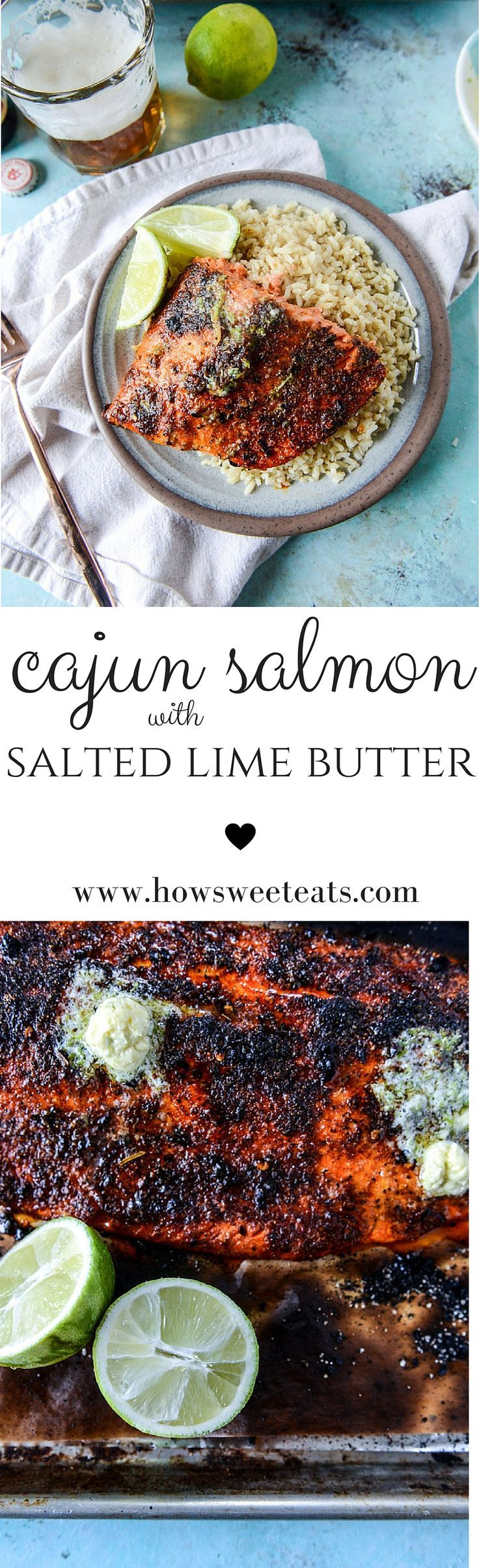 Cajun Salmon with Salted Lime Butter - only takes 30 minutes! by @howsweeteats I howsweeteats.com