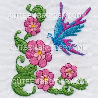 This free embroidery design is a butterfly. Thanks to Cute Embroidery for posting it.