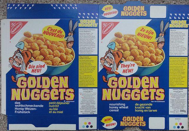 1973 Nabisco UK Golden Nuggets Cereal Packet Box by gregg_koenig, via Flickr