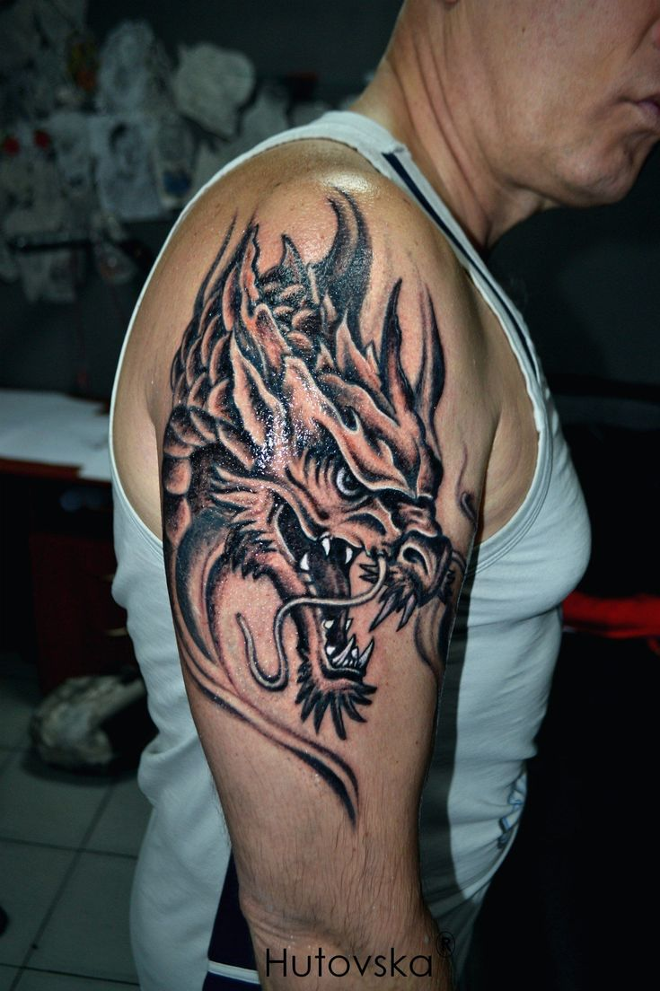 Фото тату Vika Hutovska - Тату драконы на плече #quotes ...