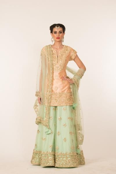 PEACH AND PISTA GREEN GOTA WORK SHARARA SET | Preeti S Kapoor