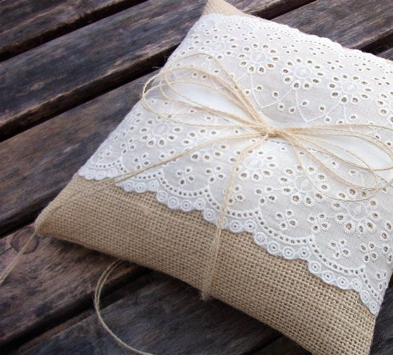 Chic Rustic Ring Bearer Pillow in Natural Ecru by WeddingLab, $29.00      Omg... this is perfect!