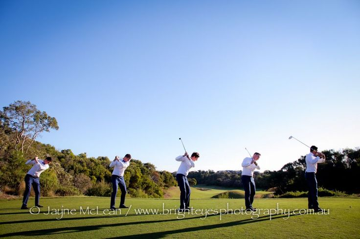 Great pic of groomsmen playing golf! Moonah Links - Mornington Peninsula Wedding. Photography by Jayne McLean - Bright Eyes Photography