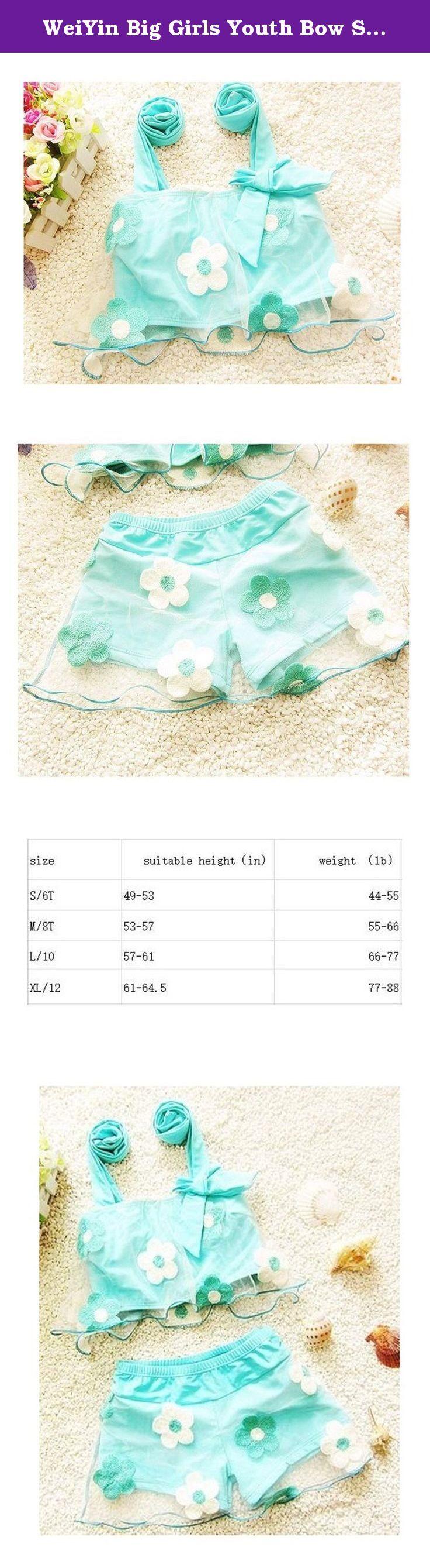 WeiYin Big Girls Youth Bow Swimsuit Summer Beach Wear With Short L Blue. WeiYin Summer Cute Bikini Swimsuit For Girls.