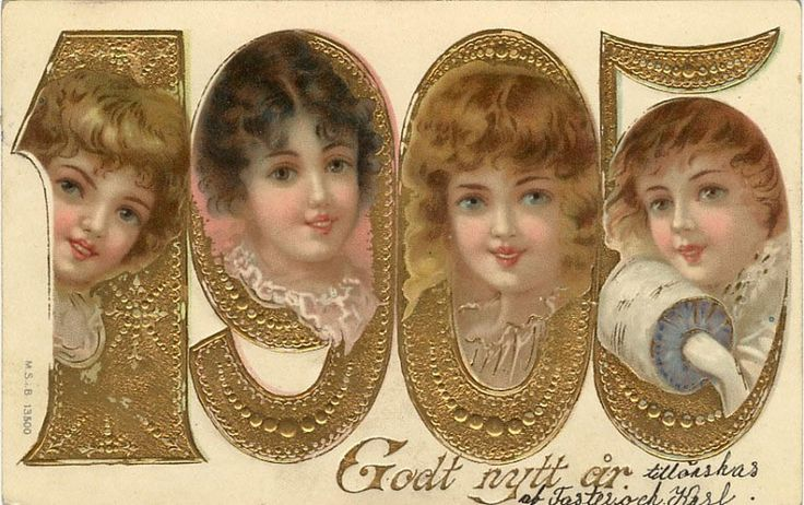 Old New Year Post Card — New Year Date, 1905  (900x576):