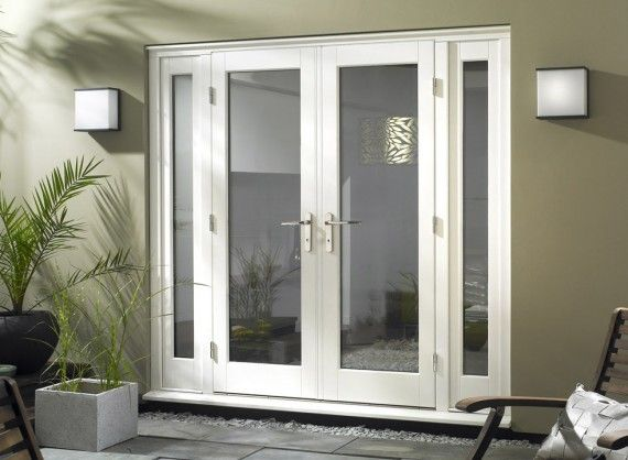 8ft white 1l patio set with sidelights exterior for White french doors exterior