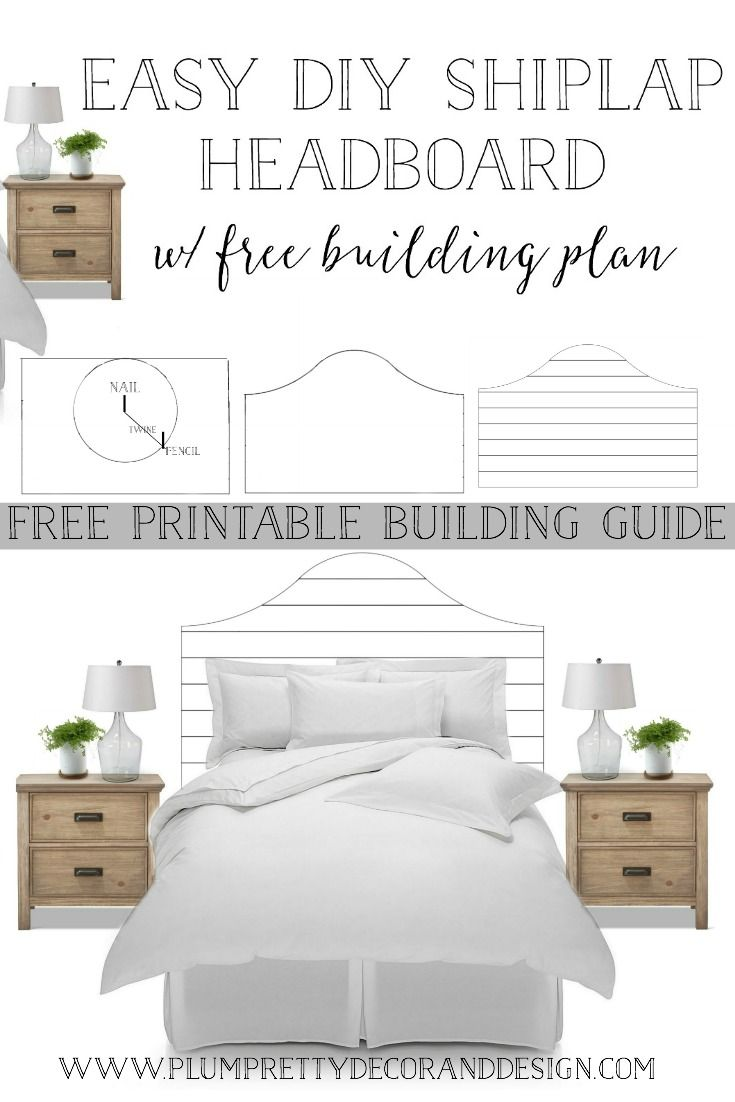 Easy DIY Shiplap Headboard Bed Tutorial with FREE Printable Building Guide- See more by clicking and visiting Plum Pretty Decor and Design's Blog