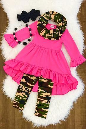 Hot Pink & Camo Hi-Low conjunto de bufanda de túnica