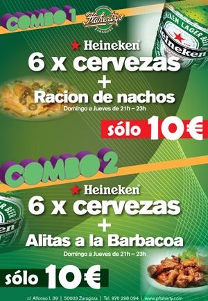 Suculentas #ofertas en el #pub irlandés Flahertys #zaragoza. De domingo a jueves y de 21 a 23 horas.    COMBO 1: 6 Heineken (botellín) + Nachos: 10€    COMBO 2: 6 Heineken (botellín) + Alitas a la barbacoa: 10 €   #Flahertys #Tabernairlandesa #irish