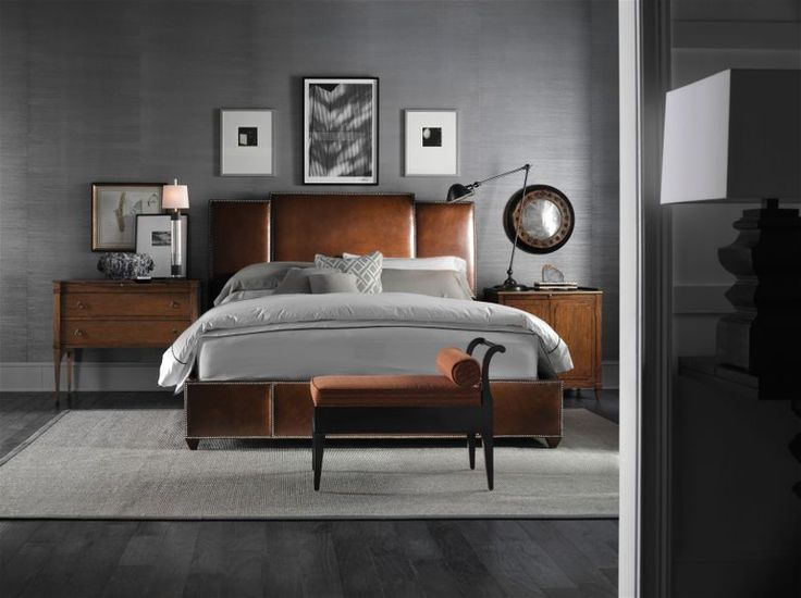 Transitional Leather Bed