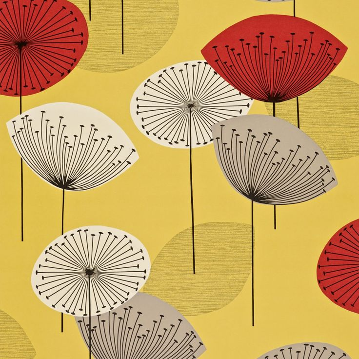 Sanderson   Dandelion Clocks (50s)  The 'Dandelion Clocks' wallpaper design is now available in two new, bright colourways and complement the printed fabric, which has also been updated with two new original 50's tones.    Collection: 50s (W)   Design name: Dandelion Clocks (50s)  Colour: Yellow/Red  Product number: DFIF210239  Wallpaper type: Paper  Width (cm): 52  Vertical pattern repeat (cm): 64  Match: Half Drop