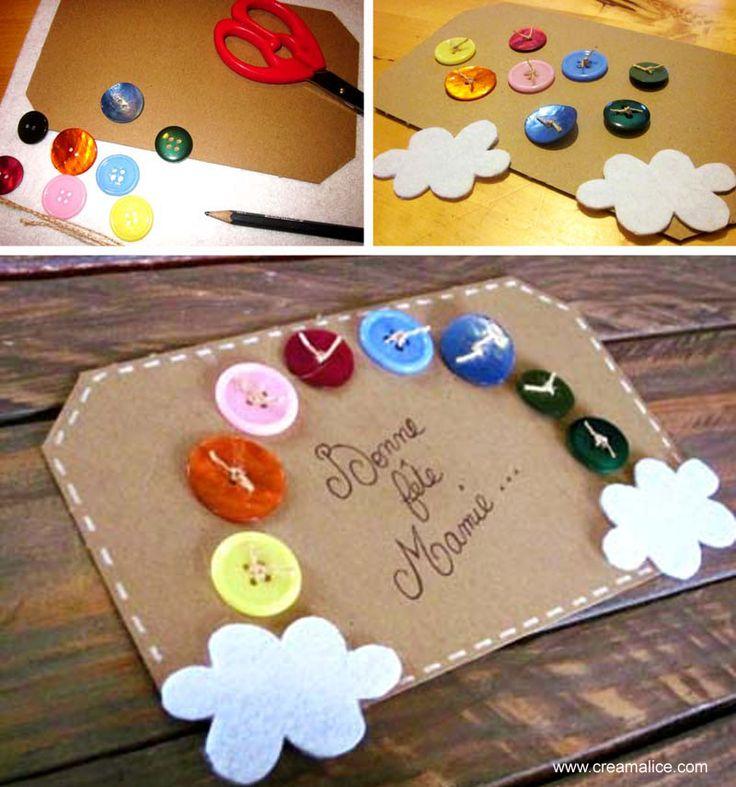 (¯`·.♥.·Carte Fête des Grand-mères·.♥.·´¯)  Voici une façon astucieuse de recycler de vieux boutons : créer une jolie carte arc-en-ciel pour la fête des Grand-Mères…  www.creamalice.com